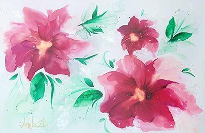 Fleur cerise et vent d'émeraude-Annciella Alarie Artiste